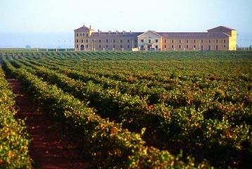 Fachada principal y viñedos de Bodegas Lahoz