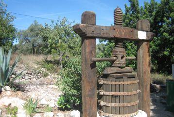 Centro de Interpretación del Vino y la Tonelería Artesana - Museo exterior. Prensa manual