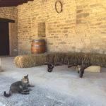 Instrumentos de labranza, balas de heno, barrica y gato